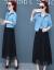 2019春夏季NEWファッション気質ガーターワンピース女性セット2点セット010中袖ブルーXL