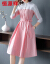 恒源祥ワンピース2019春NEWファッション韓国版ファッションショースカートは優雅なシャガールスタイルOL気質七分袖女性スカート7834ピンクMをつづり合わせます。