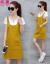 女の子の絵のワンピース夏のサロペストの女の子2019夏NEW韓国版デニムのスカートの大きいサイズはやせているスーツの女性の中で長いタイプの2つのセットの白いT黄色のスカートSを表します。