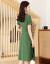 夏の綿麻のワンピース女性2019夏の新商品の婦人服韓国版タイが見せたやせた半袖純色の大きいサイズのスカートの青いM 85-100斤