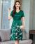 漫芭森ワンピース真糸女2019夏新作女装ファッション優雅気質タトが痩せて見えるプリント柄Vネックの中に長いデザインの杭州シルクの弾性サテンシルクのスカートの赤いL