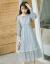 オリジナルのデザイナーブランドのファッションブランドの女性は春秋時代にとても仙女のフランスの小衆の仙女のスカートのchicは優しくて長いレースのワンピースの薄い灰色の青はガーターMを配合します。