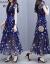 韩采西2019春新作ロングースカート気质タトスカート女装ティィアドカートウエストの花柄ワンピース1458ブルーL(100-110斤オススメ)