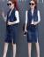 五十八画デニムワンピース2019春夏NEW新作女装韓国版セクシー長袖ワンピース二枚セットのスカートと尻スカートのベストスカートの女性三枚セットの写真色はベルトにプレゼントします。