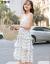 昔は柚米ワンピース女子2019夏NEW女装ジゼルのペアリングワンピースティアドカート女史中ロングスカート韓国版ファッションガールの蜜の服は白-ショートサイズM