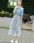 シンゴルの蜜の半袖のワンピの妇服2019春夏NEW韩国版の纱のスカートのカウボワーイのファンの洋风の2つのストラットの色M