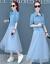 2019春夏季NEWファッション気質ガーターワンピース女性セット2点セット010中袖ブルーL
