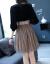 アイ族ジゼルのワンピース2019春夏の女装の新作ファッションV襟のウエストが細く見えるプリーツの長袖のスカートの色XL(125-135斤をオススメします)
