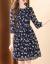 ザク族のワンピースの長袖2019春夏の女装の新商品の韓国版の小花は腰の太いmmの大きいサイズの婦人服の中で長いスカートの女性図の色Sを収めます。