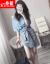 シングルの蜜のワンピース2019春夏新作の女性服韓国版ファッションの半袖テートの2つのスーツのスカートの青いM