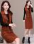 バッタ裳一族の長袖ワンピース2019年NEWビッグサイズ女装韓国版タイ顕痩身中長柄ガードレールファッションスーツ女性ボトムスワンピース2枚セット画像色4 X