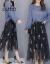 CUMワンピース女性ジゼル2019春夏NEWファッション小香風韓国版の2つのセットはタイトビーチスカートの中に長めの刺繍網紗の中の長袖の半身のスカートの婦人服の青いSです。