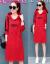 長袖ワンピース女性2019 NEW春秋韓版が明らかに痩せている中、長めのパカスカーTシャツの赤いXXL