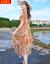 アトペンゼットのワンピースビーチスカートビーチリゾート女性夏ローリングスカト2019 NEWル肩ボジアプリント中のロングスカート1998オレンジL