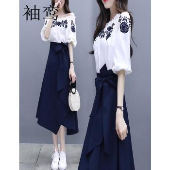 袖鸞2019 NEW婦人服ショッツァーのワンピースの長袖ファッション2つのセットの女性の襟の刺繍上着が不規則で大きいです。上半身のスカートを並べます。フランス風のレトロスカートは春夏青白Mです。
