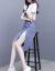 ザク族のワンピースジゼル2019夏の新作女装百合春服のストライププリントのウエストが細く見える2つのスーツのスカート画像色XXL(125-135斤を推奨します)