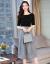 パラフィンのワンピース女子春2019 NEWの2つのスーツのスカートの中で袖のゆるい風の韓国版の中で長いスタイルの気質のセクシーな基礎のスカートの仙女のスカートの黒色の上着+縞のスカートS