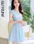 閨園婦人服2019春夏新作ワンピース長袖セット女性ショットの中の長いスタイルの韓国版女性プリントのセクシーな2つのセットのファッションスーツのスカート春L(100-110斤が似合うと提案されています)