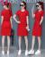 芳帛半袖ワンピース女性中丈Tシャツ女性2019夏服NEW韓国版ゆったりお尻タイトスカー赤いM