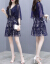 xzooジゼルワンピース2019春夏婦人服NEW韓国版半袖ワンピースのゆったりとしたファッションステッチの大サイズスカートの女性画像色2 XL(125-135斤を推奨)