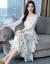 玫洛爾ワンピース2019春夏NEW婦人服の中に長めのタト気質のお嬢様高腰刺繍ジゼルプリントワンピースビーチスカート5219白L