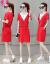 芳帛中长款Tシャツー女性2019夏新商品韩国版伪りの2つの丸首のワンピスの薄いタピプのカジィ