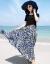 丹徳蘭潮牌三亜プロゼットのワンピースの夏ボヘミアログサットの二点セットの花のスカートのビーチリゾートビーチスカート幾何学セット(ヘソを見せない)L