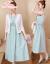 【2つのセット】ワンピース2019夏NEWルネッサンス刺繍綿麻ショール薄いカーディガンスーツ民族風の中でローングスケーター空色L
