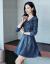 YIESAMオリジナルデザイン高級ブランドデニムワンピース女性2019 NEW春服港味復古気質タイが見えるスリムワンピース原宿風BFデニムブルーS