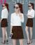 芳帛ワンピース女性セット2019春NEWファッションストライプシャツ上着+半身スカート女性ファッション二点セット白衣カレースカートM