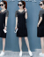 欧潤娜ワンピース女性夏服2019 NEW婦人服の中の長いスタイルの気質韓国版タイ顕痩せたカジュアのゆったりしたスカートの潮白地のストライプM