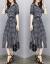 XZOOジゼルのワンピース2019春夏新作韓国版の大きいサイズの婦人服の気質の文芸の復古する格子のrong格ka toがやせているスカートの白黒の格子Mが100-110斤を提案します。