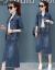 新倩デニムワンピース女装春服2019 NEW春秋ファッション韓国版春季二枚セットのスカートファッションモデルT 705デニムブルーS