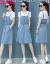 月光雨ワンピース夏デニムサロペトラック2018夏NEWビッグサイズ韓国語学院風ショット+半袖Tシャツファッションスーツ女性白TデニムスカートS