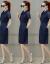 YIESAMオリジナルデザイン高級ブランドデニムスカート女子中ロングモデル2019夏NEWレギンスウエスト半袖セレブ気質ワンピースカージュアルペアレススカートデニムブルー160/84 A/M