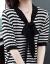 北极绒のワンピース2019春NEWファッションの韓国版の大きいサイズの婦人服の優雅な半袖の気質の気前が良いボタンは大きくスカートを並べて明らかにやせています簡単な女性のスカートの8102白黒のストライプMを並べます。