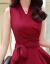 ディナスイ2018夏服NEWの中の長い純色のカジュアのワンピースジショルゼルの2つのセットの女性ナツメの赤いL