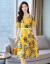 ワンピースジチョーゼットプラス丸首女装2019夏NEWファッションテートプリント半袖ビーチスカートの中の長めのOLの職業ワンピースの女性カバーの首がウエストを締めくくる黄色XL(120斤ぐらいをおすすめします。)