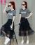 芳帛のワンピースの女性2019夏モデルの新商品のプリントは小さくて清新で、シンプルなスカートのスーツの二点セットの韓国版の網紗のスカートの銀灰の服の黒いスカートM