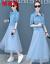 永恒源祥ワンピース2019春NEWファッション韓国版大コードプリント2点セットを大振子スカート気質淑女タイトエレガントセットローリングスト9606ブルーL