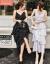 知語者ジチョーゼットワンピース女子中長款夏季2019 NEWガールフレンドローリングカーターVネック女装韓国版気質收腰顕やせ年齢ジチャレットレットレットL 606ピクチャーカラーM