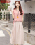 ヴィヴィッキーマーブル綿麻二点セットワンピース女性2019夏NEW婦人服韓国版タイト半袖ワンピース中ロングスタイルファッションスーツスカートピンクMは80-100斤を提案します。