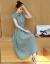 青椒2019夏NEWストライプの綿麻のワンピース女性の中の長いスタイルの気質を改良したチャイナドレスのゆったりとした流行のスカート春灰色L。