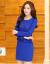 韓国版のタイトが見せている細いレースのワンピース女性の夏の新商品は腰の長袖を収めて尻のスカートの気質の淑女OLを包んで底のシャツを打って偽の2件の優雅なファッションを整えて尻のスカートの職業の婦人服の青いMサイズを包みます。