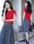 梦秀琳ジゼルワンピース2019春夏新作女装NEW韩版大サイズ女装タイが见せているスタイルの2つのセットが底を打っているファッションスーツの女性カウボーイセクシーなワンピース画像色XL