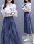 思い出暮しレースのワンピース2019春夏NEW新品韓国版タトの大きいサイズの婦人服はやせた雰囲気を見せます。長袖ニートのセクシーなジゼルの2点セットのファッションスーツの女性のスカートの画像色XL