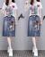 チョーゼットのワンピース2019夏新品の女装ビッグサイズ韓国版タイが見せたやせセクシーなレース半袖A字ハイウエストと偽の2つのファッションスーツのスカート画像色L