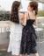 情ローランド吊りワンピースVネックのチョーゼットが細い白黒のアクセントを見せてくれます。ティアドトラック多層2019夏新作女装スカート黒L