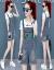 デニムスーツワンピース2019夏服NEW女装サロペトスーツ年齢を下げる洋風ゆったり2点セットの潮白T+サラロペスト(8815)S