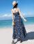 ファビルFARRFROOの軽い贅沢ブランドジロジャーのワンピース2019夏の女性バリ島のスリムなストラップ海南三亜タイビーチリゾートスカートのビーチスカートの青いL
